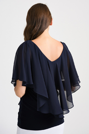 Joseph Ribkoff Tapered Overlay Top, Midnight Blue - Side cropped