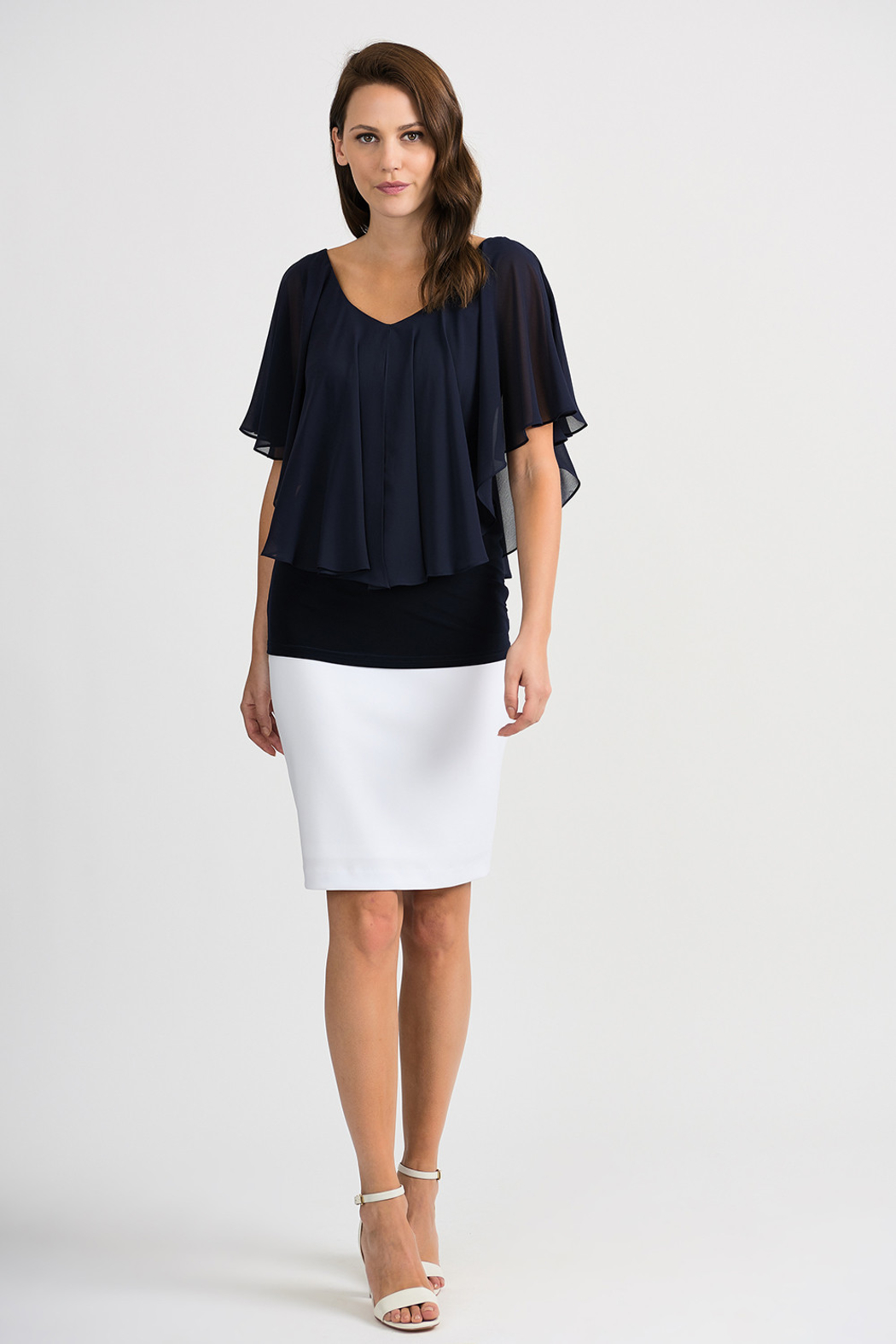 Joseph Ribkoff Tapered Overlay Top, Midnight Blue - Back Cropped Image