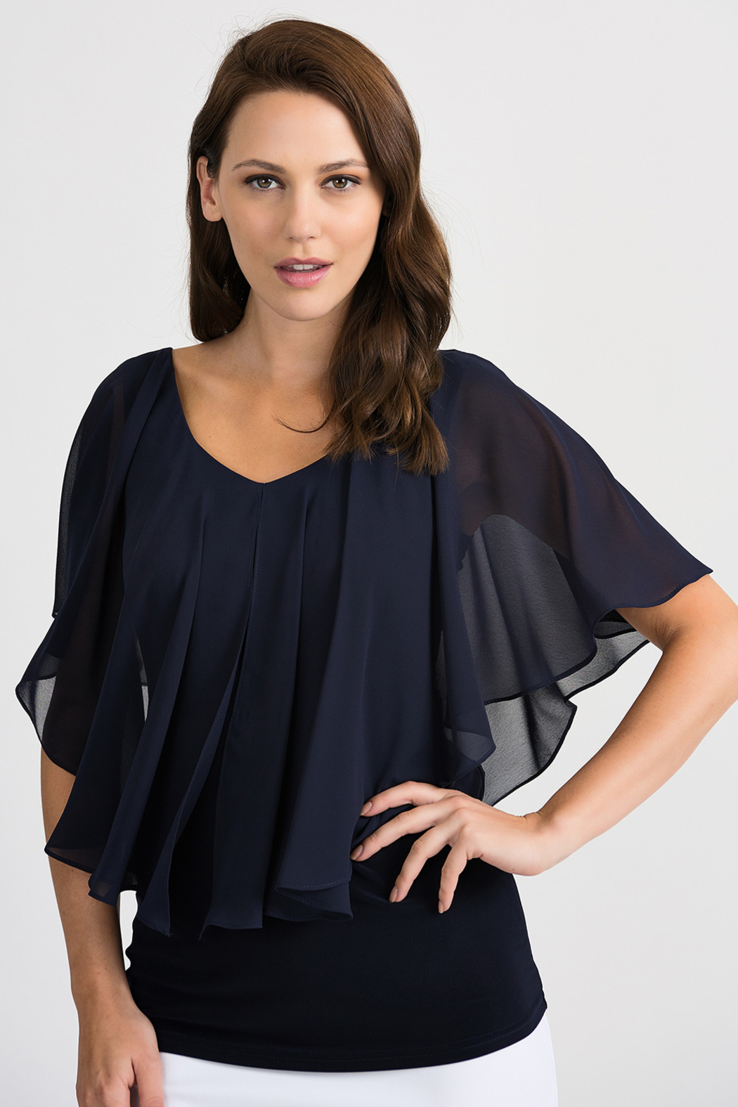 Joseph Ribkoff Tapered Overlay Top, Midnight Blue - Front Cropped Image