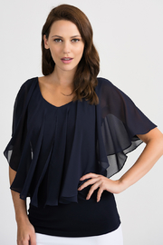 Joseph Ribkoff Tapered Overlay Top, Midnight Blue - Front cropped