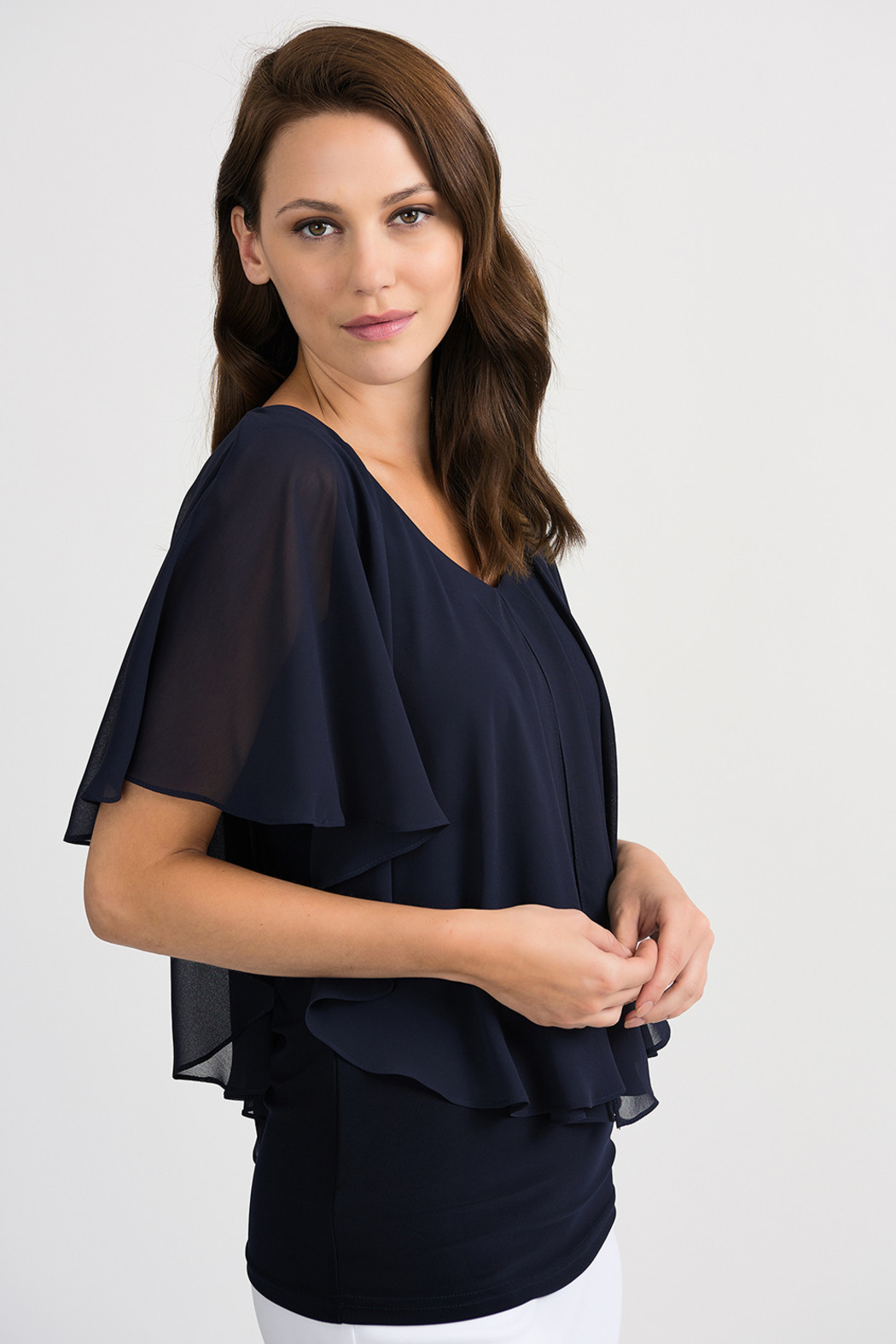 Joseph Ribkoff Tapered Overlay Top, Midnight Blue - Front Full Image