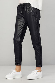 David Lerner  Tapered Vegan Leather Track Pants - Product Mini Image