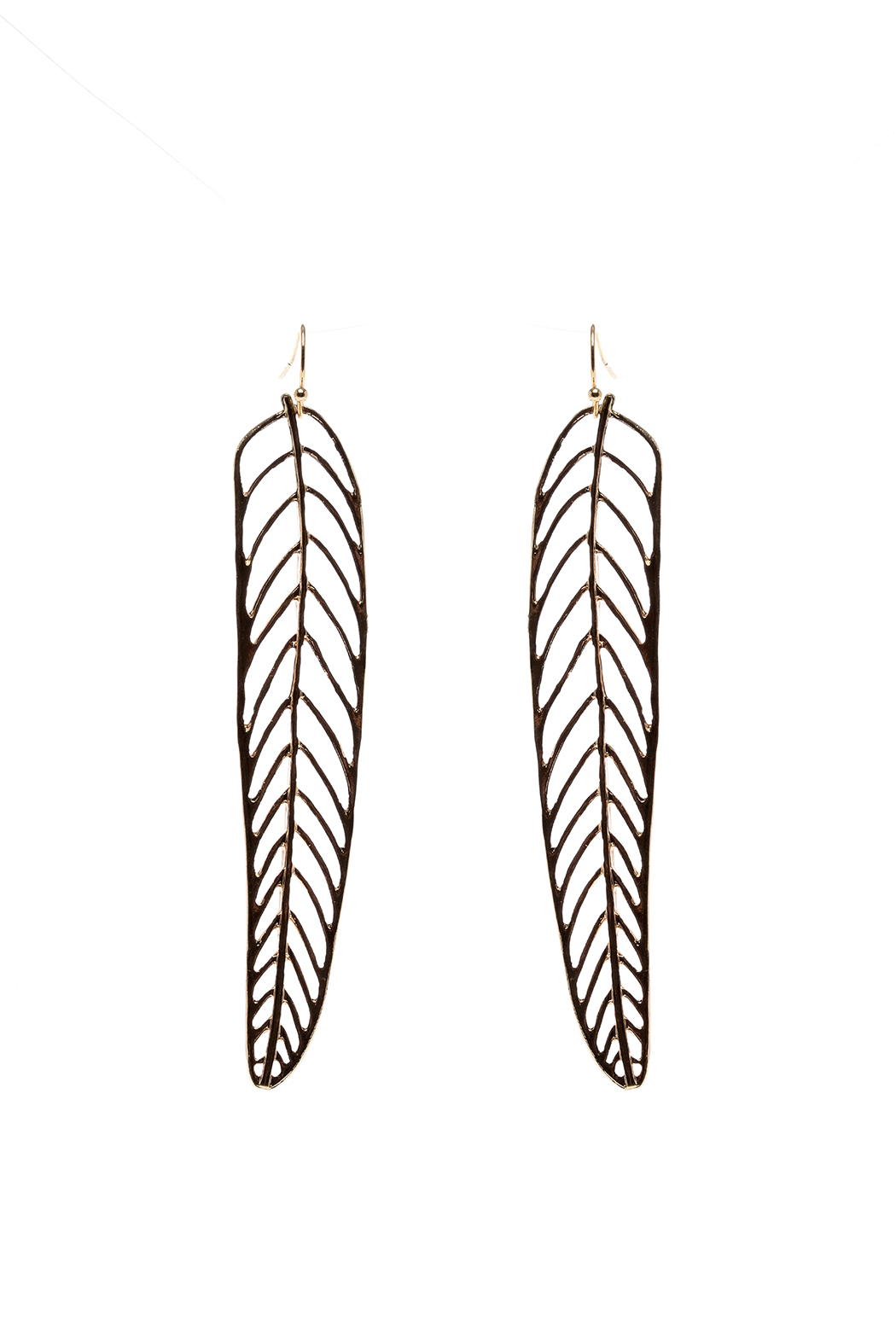 Tara Jewels Gold Feather Earrings From Los Angeles By