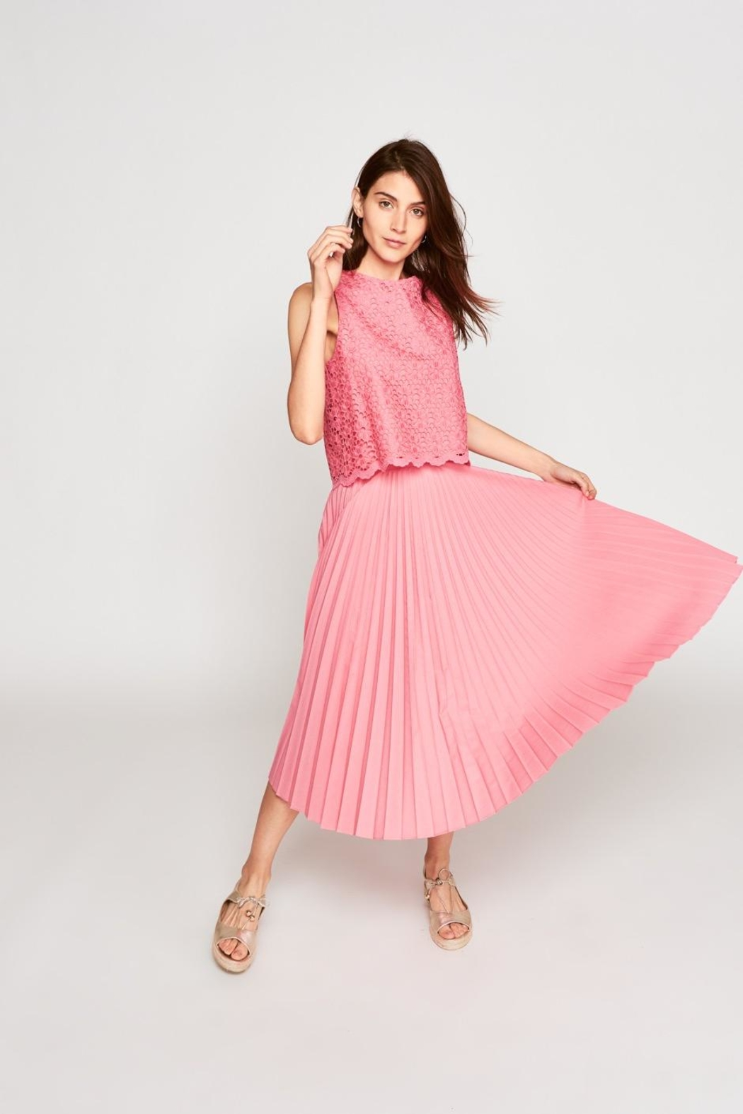Tara Jarmon Pleated Rose Skirt - Front Cropped Image