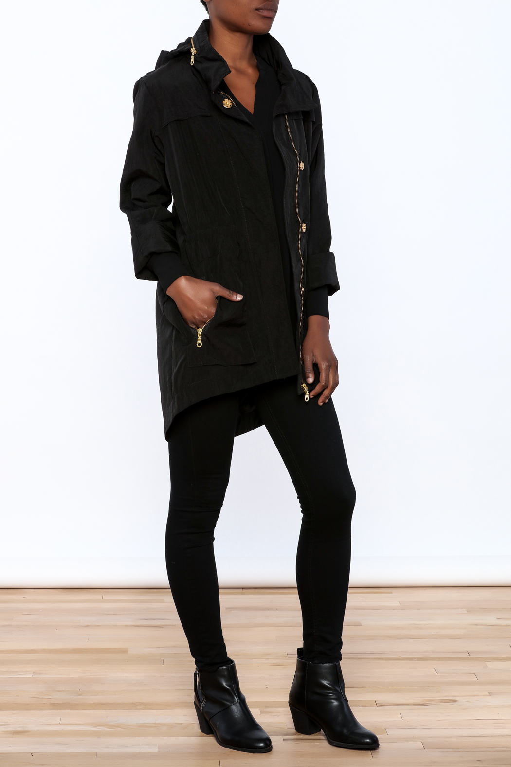 Tart Collections Black Long Jacket - Front Full Image