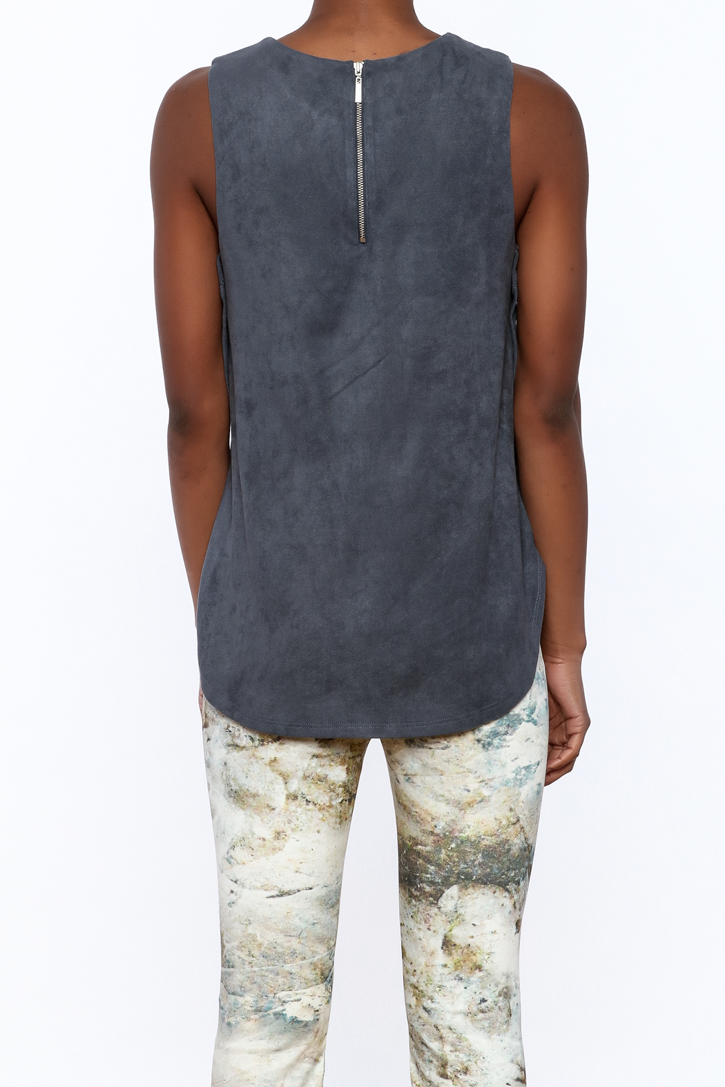 Tart Collections Grey Sleeveless Top - Back Cropped Image