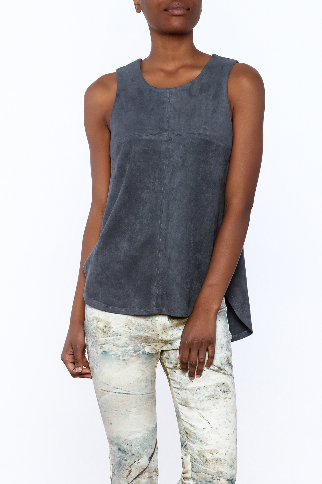 Tart Collections Grey Sleeveless Top - Front Cropped Image