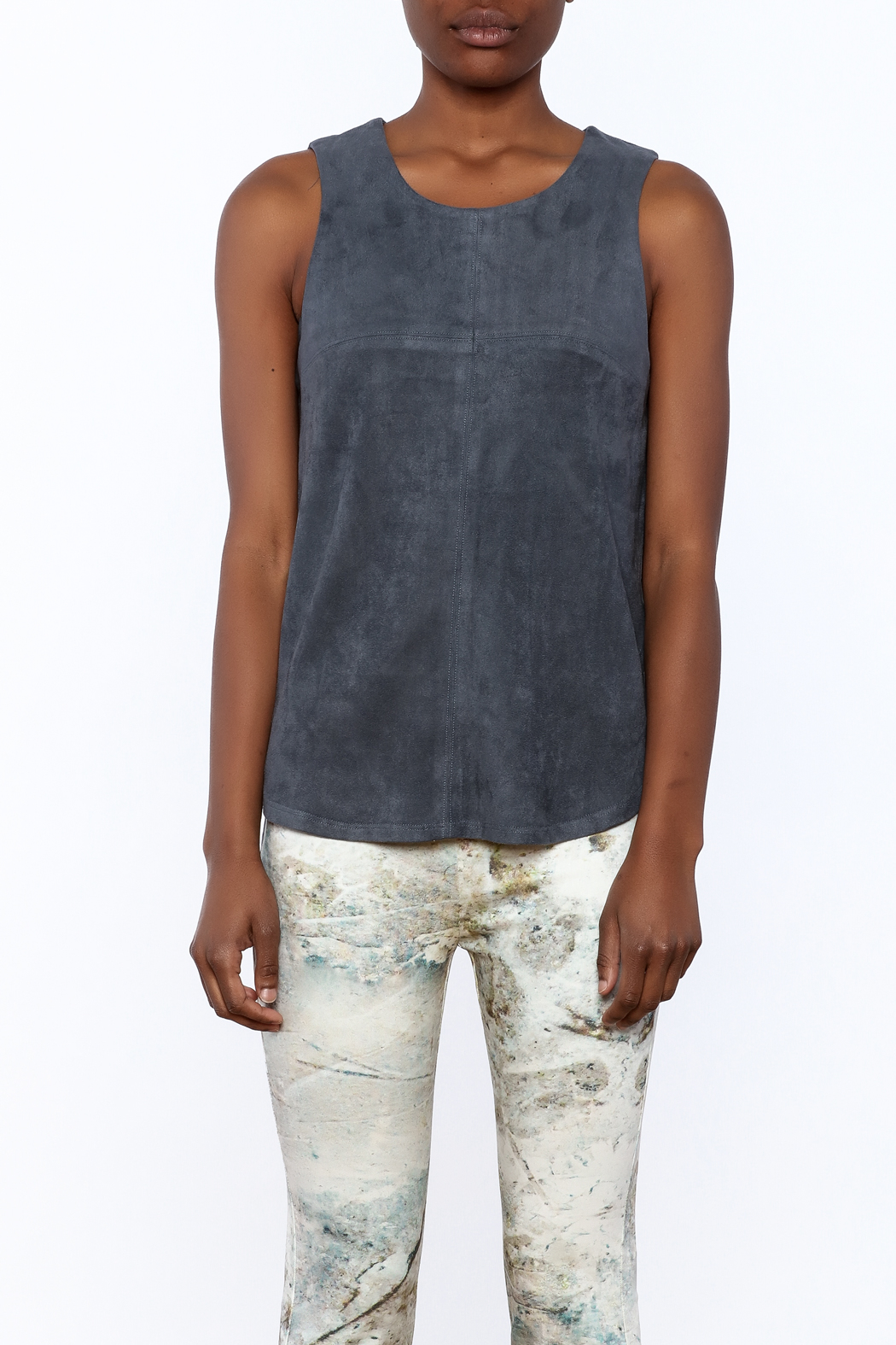 Tart Collections Grey Sleeveless Top - Side Cropped Image