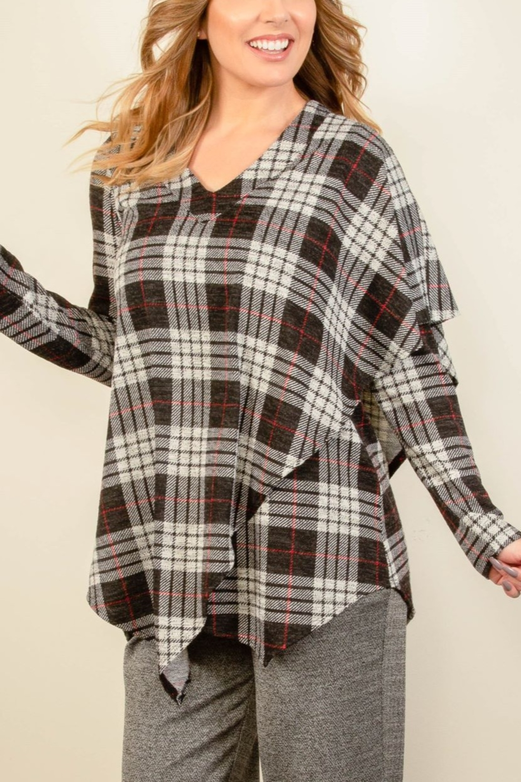 Pure Essence Tartan CapeTop - Front Cropped Image