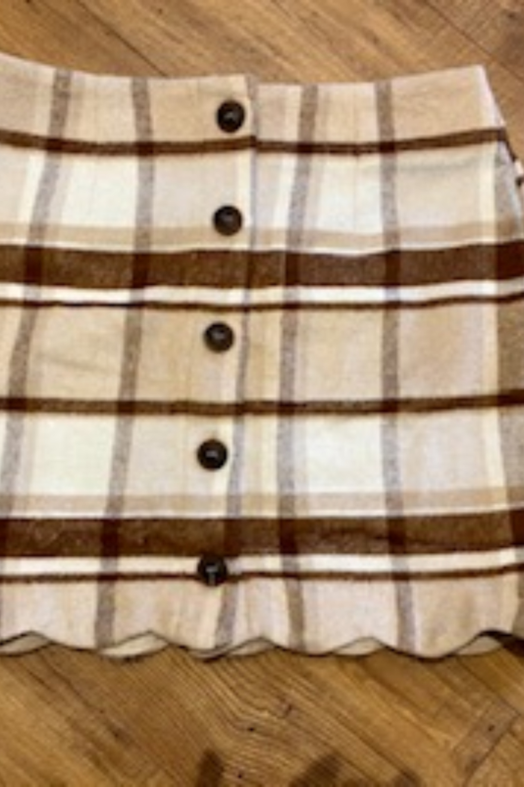 Mine and E&M Tartan Check Button Down Mini Skirt - Front Cropped Image