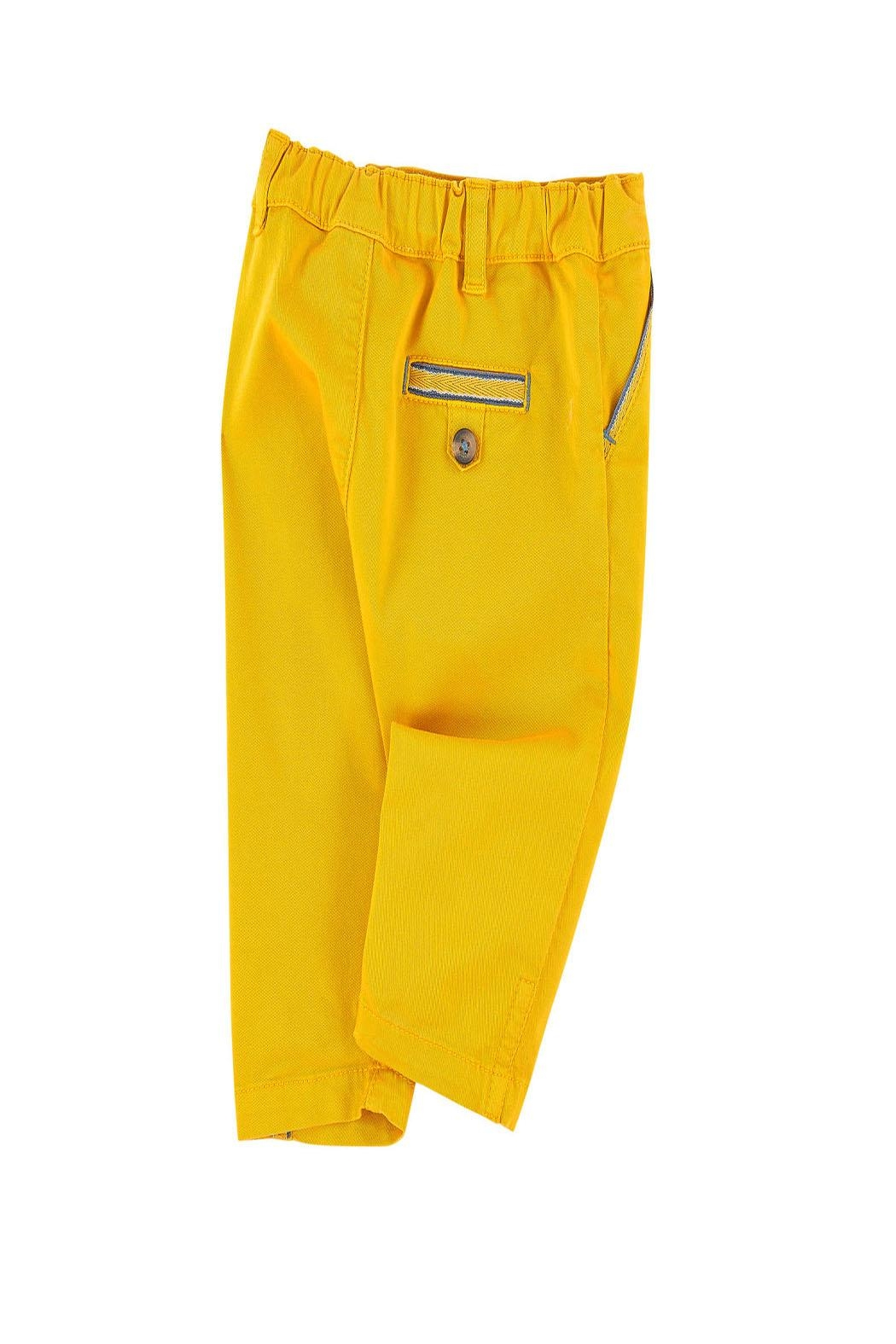 Tartine et Chocolat Yellow Twill Trousers - Side Cropped Image
