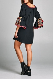 Velzera Tassel Bell-Sleeve Tunic-Dress - Front full body
