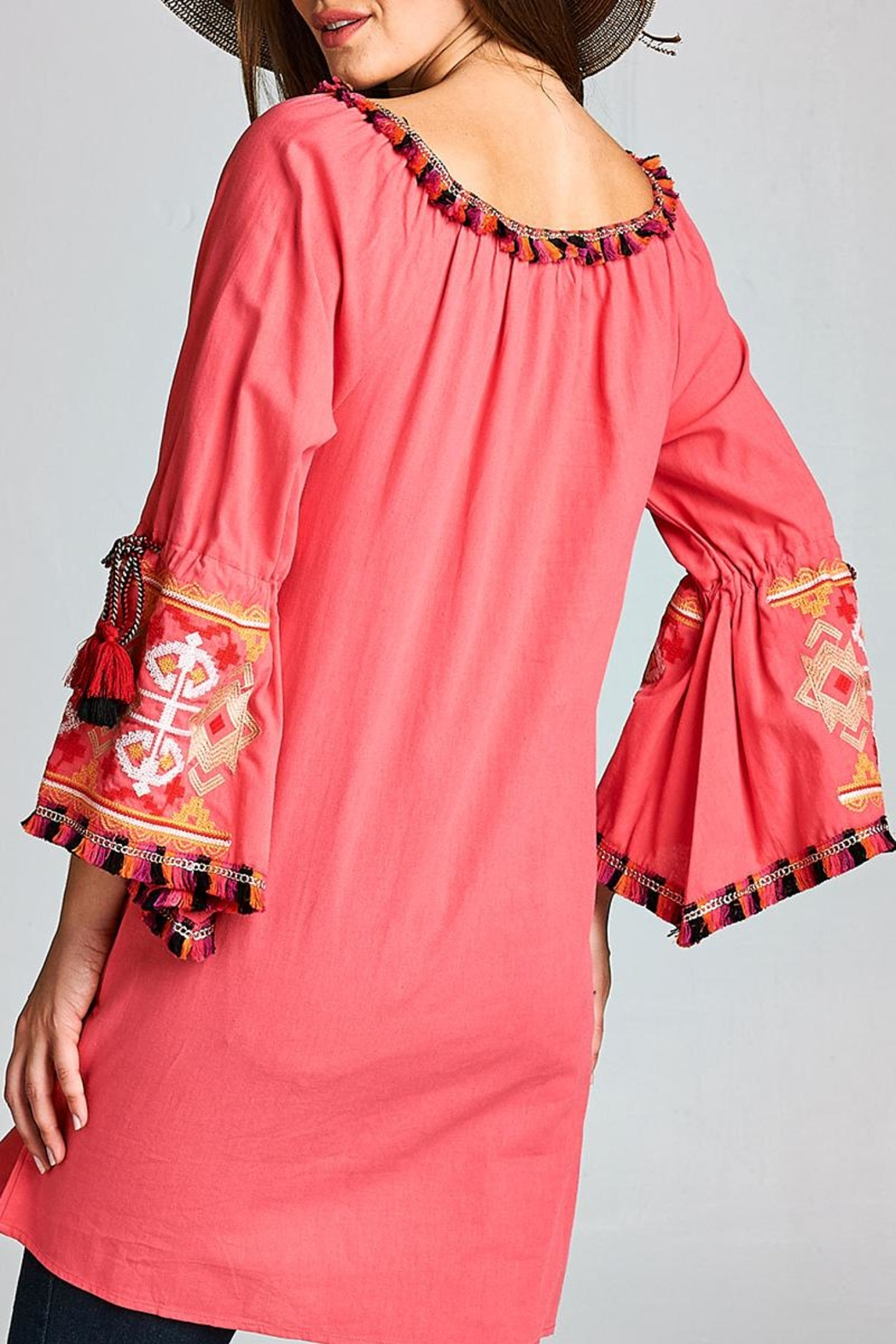 Velzera Tassel Bell-Sleeve Tunic-Dress - Side Cropped Image