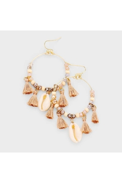 Lets Accessorize Tassel Shell Hoops - Alternate List Image