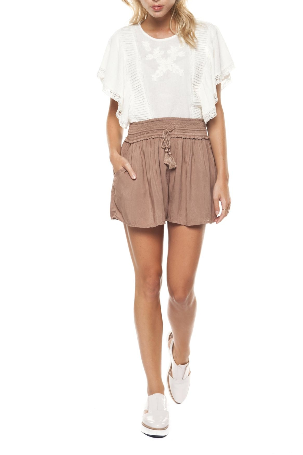 Dex Smocked Waist Short - Front Cropped Image