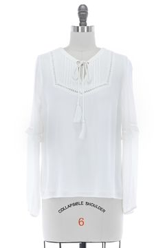 Skies Are Blue Tassel-Tie Woven Blouse - Product List Image