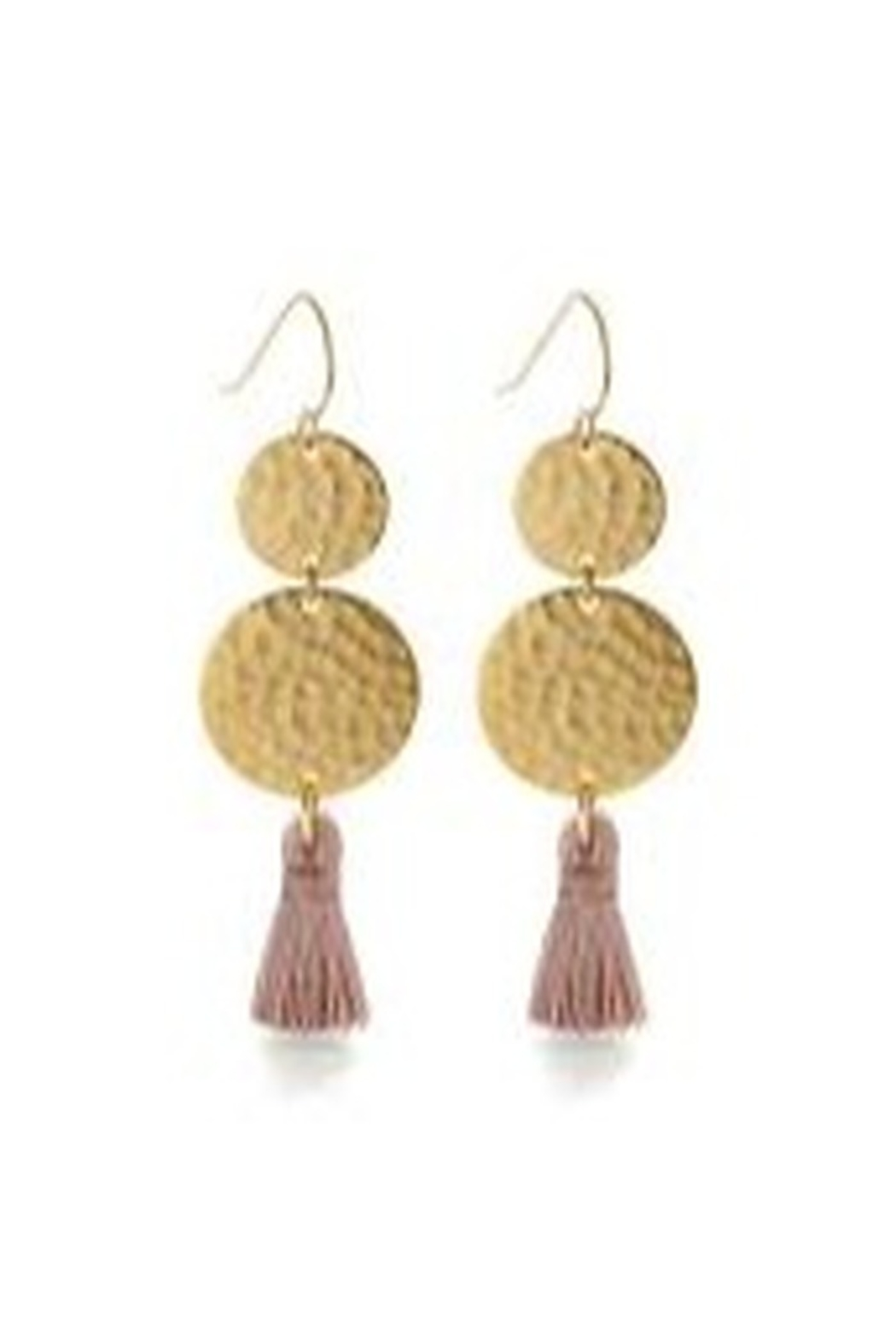 Amano Trading Tassel Two Disc Earring - Front Cropped Image