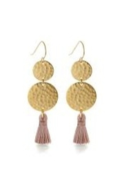 Amano Trading Tassel Two Disc Earring - Front cropped