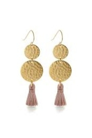 Amano Trading Tassel Two Disk Earrings - Front cropped