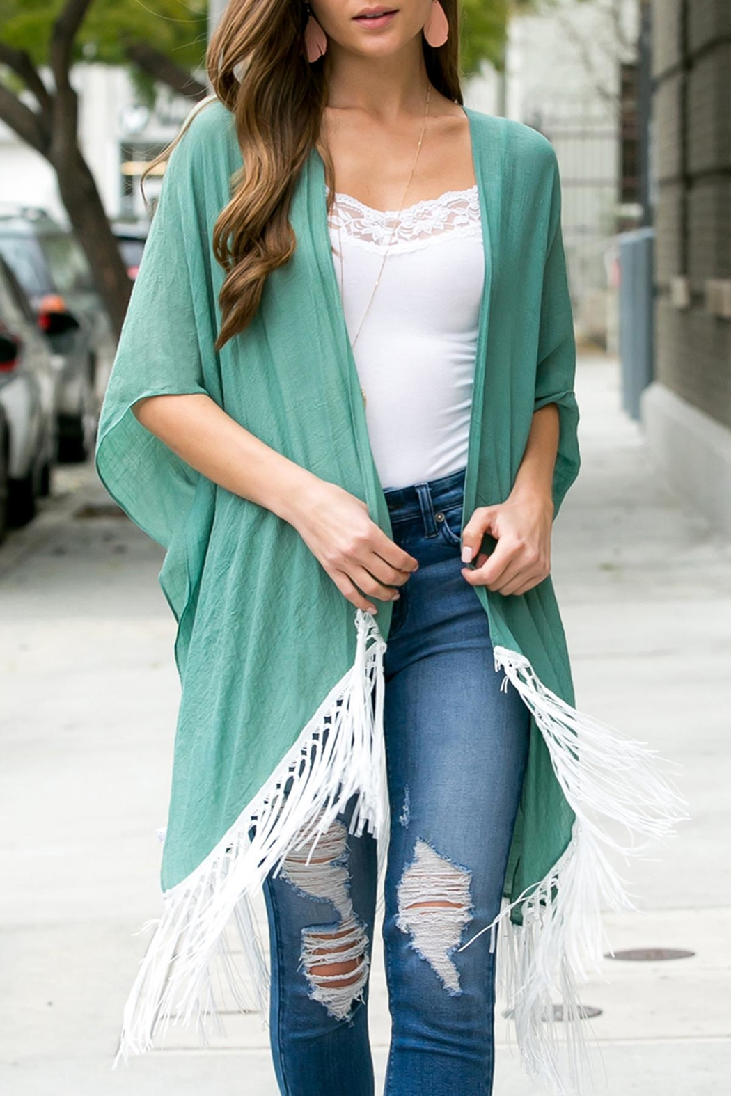 Riah Fashion Tasseled-Lace-Kimono-Or-Beach-Cover-Up - Front Cropped Image