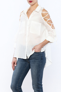 Tassels N Lace Cold Shoulder Lace Up Top - Product List Image