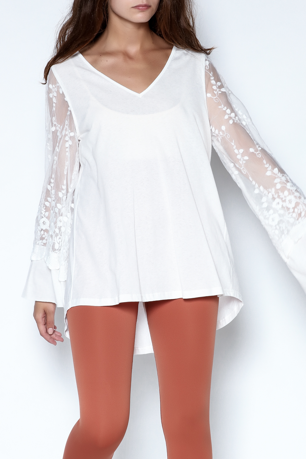 Tassels N Lace Lace Bell Sleeve Tee - Main Image