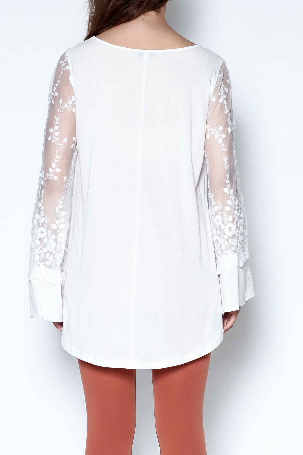 Tassels N Lace Lace Bell Sleeve Tee - Back Cropped Image