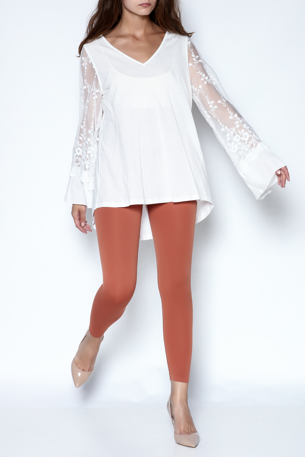 Tassels N Lace Lace Bell Sleeve Tee - Front Full Image