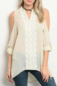 Tassels N Lace Beige Lace Top - Product List Image