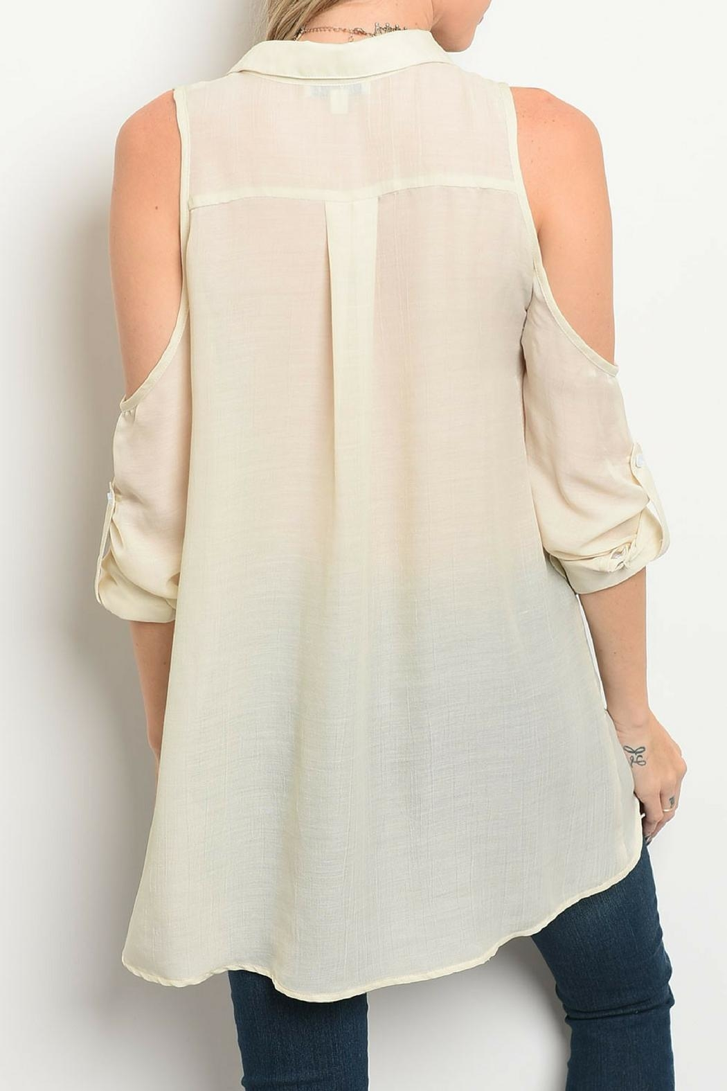 Tassels N Lace Beige Lace Top - Front Full Image