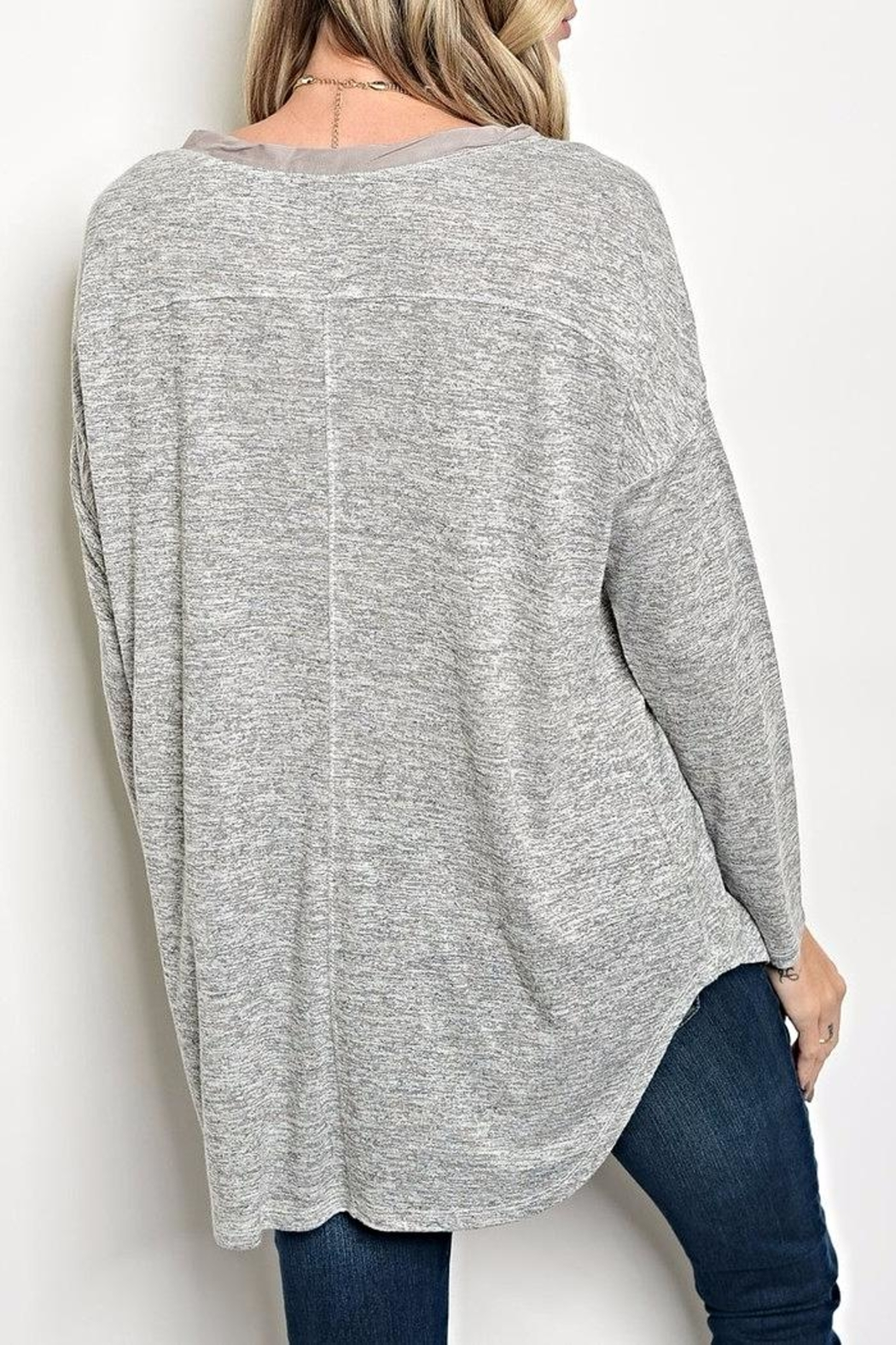 Tassels N Lace Button Grey Top - Front Full Image