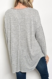Tassels N Lace Button Grey Top - Front full body
