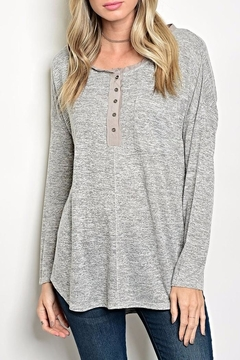 Tassels N Lace Button Grey Top - Product List Image