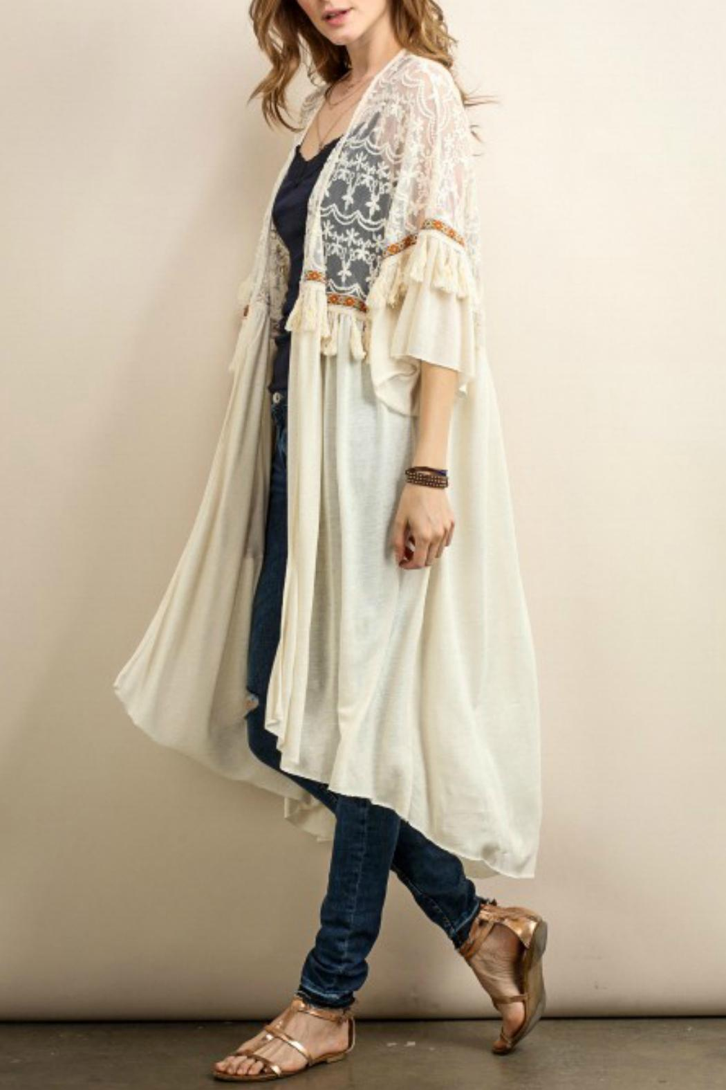 Long lace cardigan - Tassels N Lace Layered Lace Cardigan Front Full Image