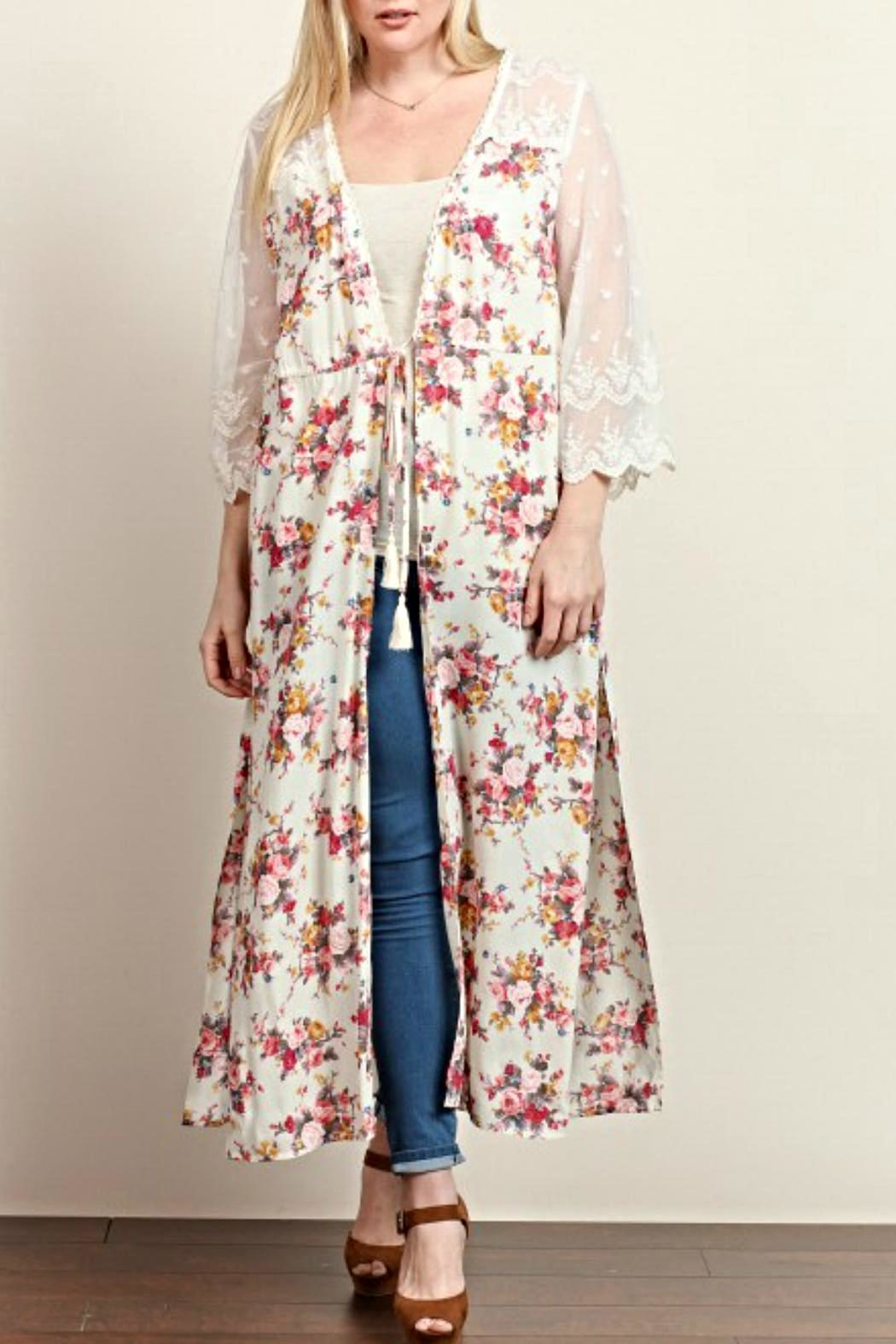 Tassels N Lace Long Floral Kimono from Oklahoma by Simply ...