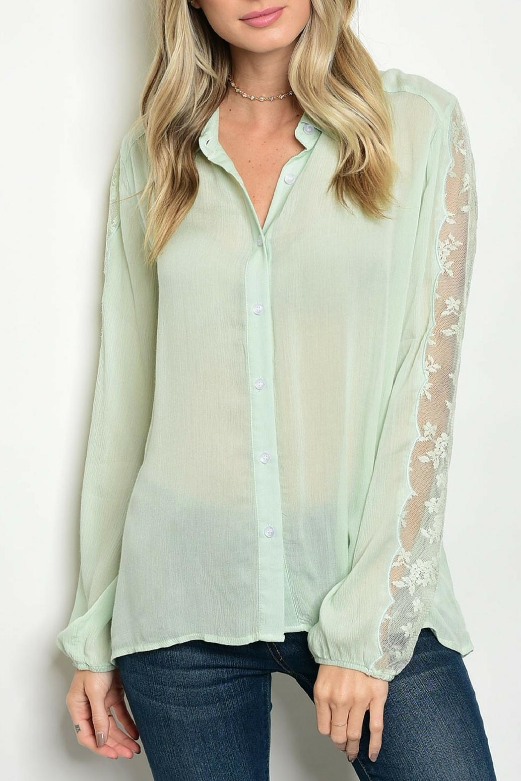 Tassels N Lace Mint Lace Top - Main Image
