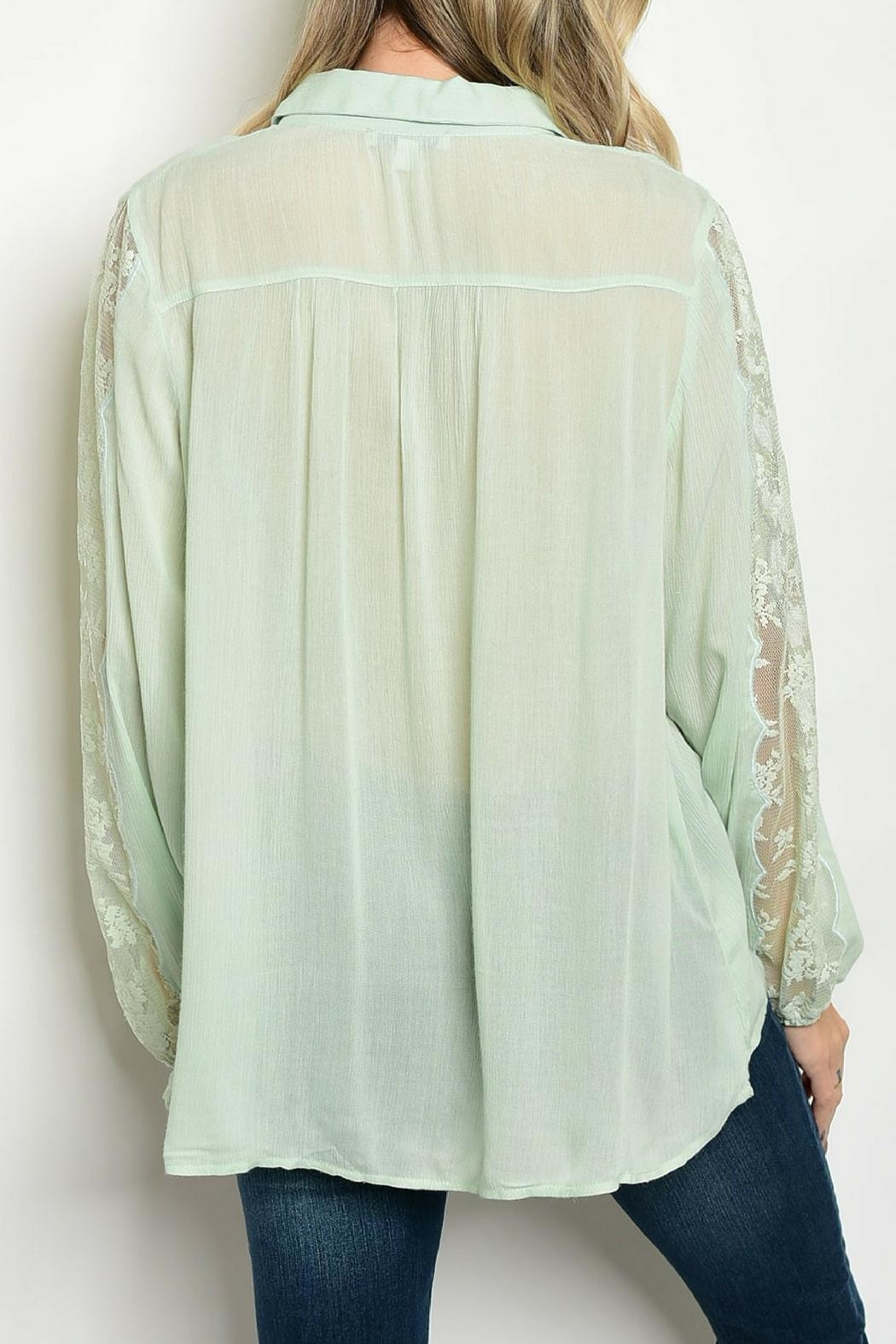 Tassels N Lace Mint Lace Top - Front Full Image