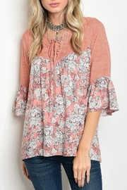 Tassels N Lace Peach Floral Blouse - Front cropped