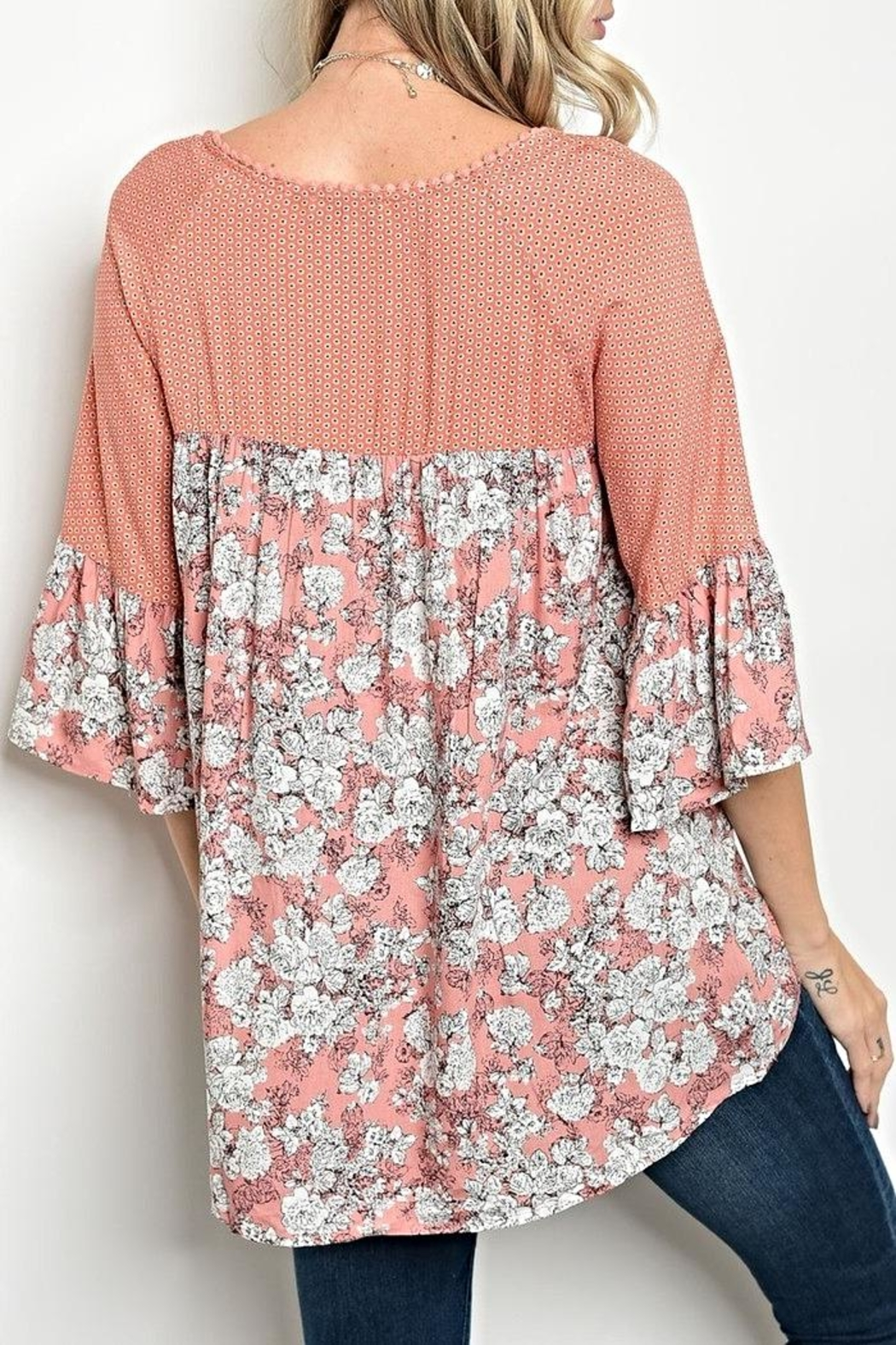 Tassels N Lace Peach Floral Blouse - Front Full Image