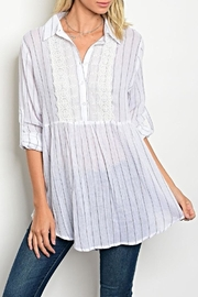 Tassels N Lace Pinstripe Boho Blouse - Front cropped
