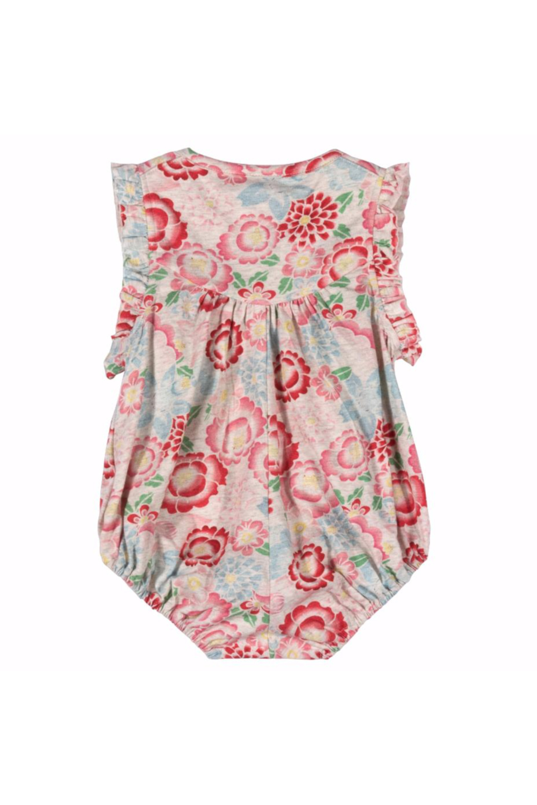 Paper Wings Tattoo Flowers Cross Over Romper - Front Full Image