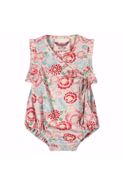 Paper Wings Tattoo Flowers Cross Over Romper - Front cropped