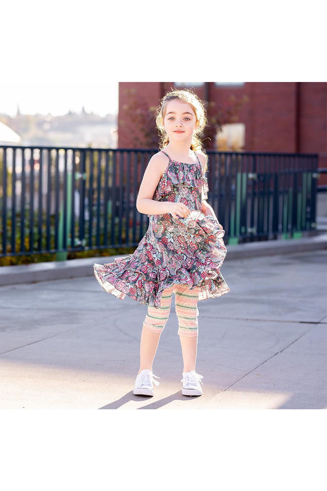 Paper Wings Tattoo Flowers Frilled Dress - Side Cropped Image