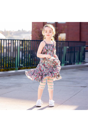 Paper Wings Tattoo Flowers Frilled Dress - Side cropped