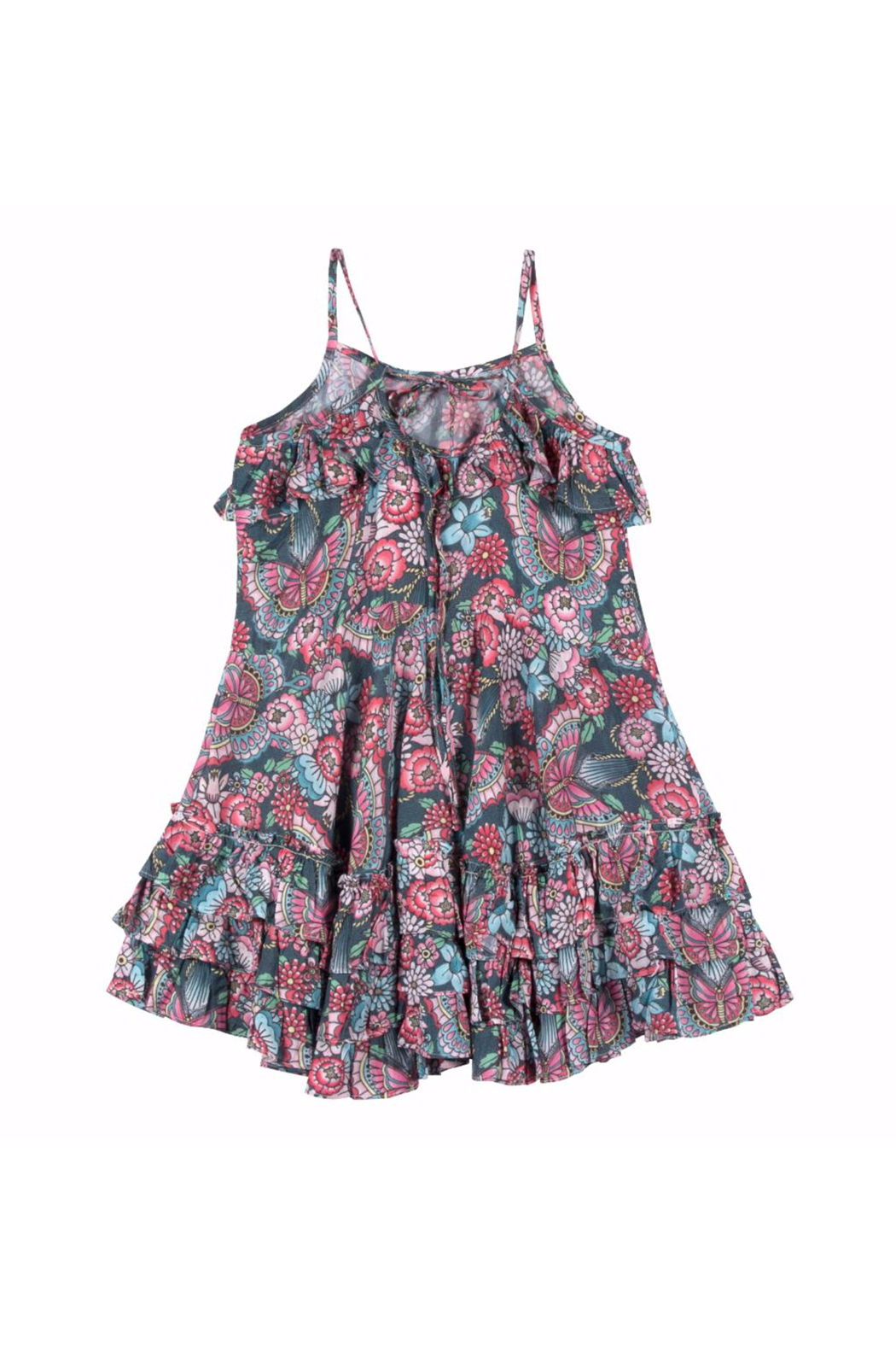 Paper Wings Tattoo Flowers Frilled Dress - Front Full Image