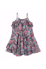 Paper Wings Tattoo Flowers Frilled Dress - Front full body