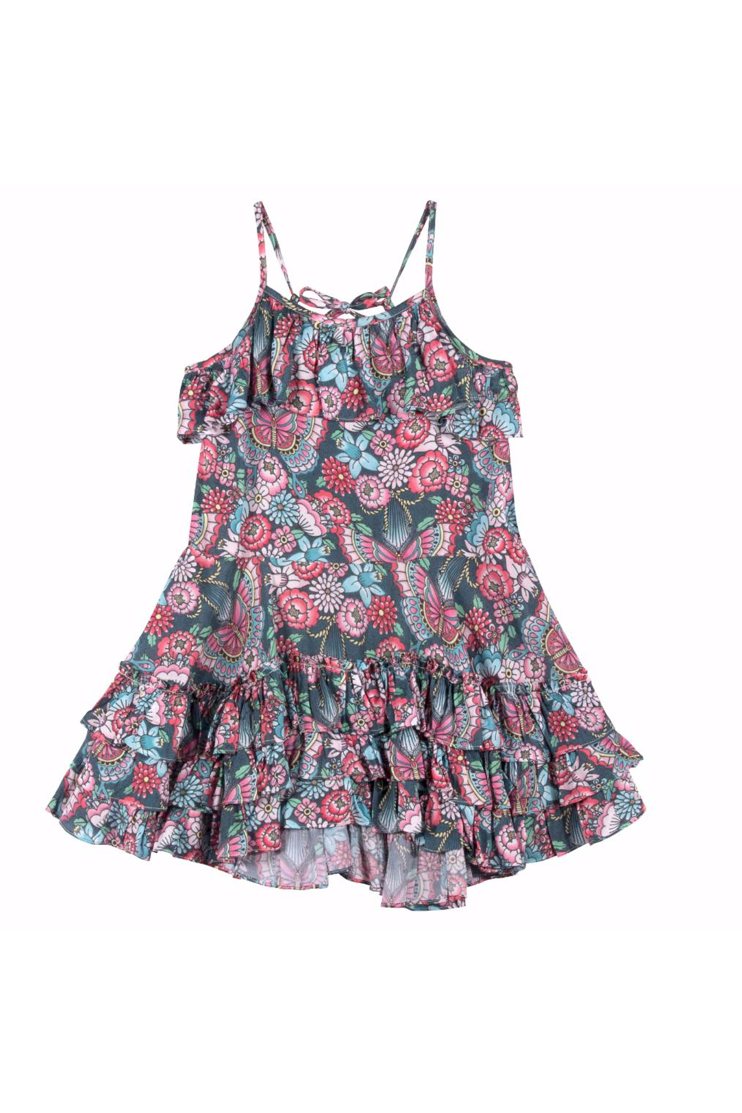 Paper Wings Tattoo Flowers Frilled Dress - Main Image