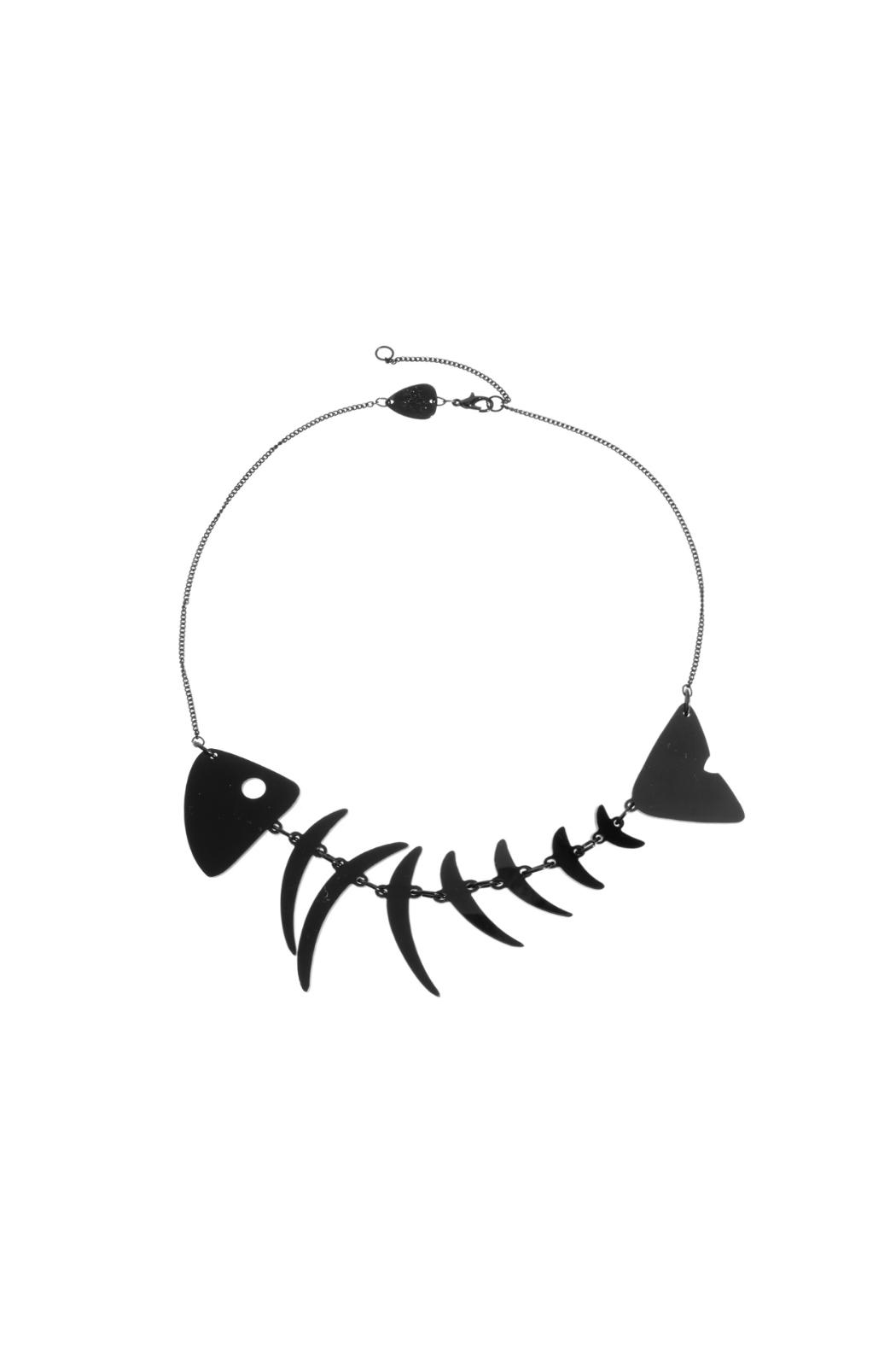 Tatty Devine Fishbone Black Necklace - Front Cropped Image