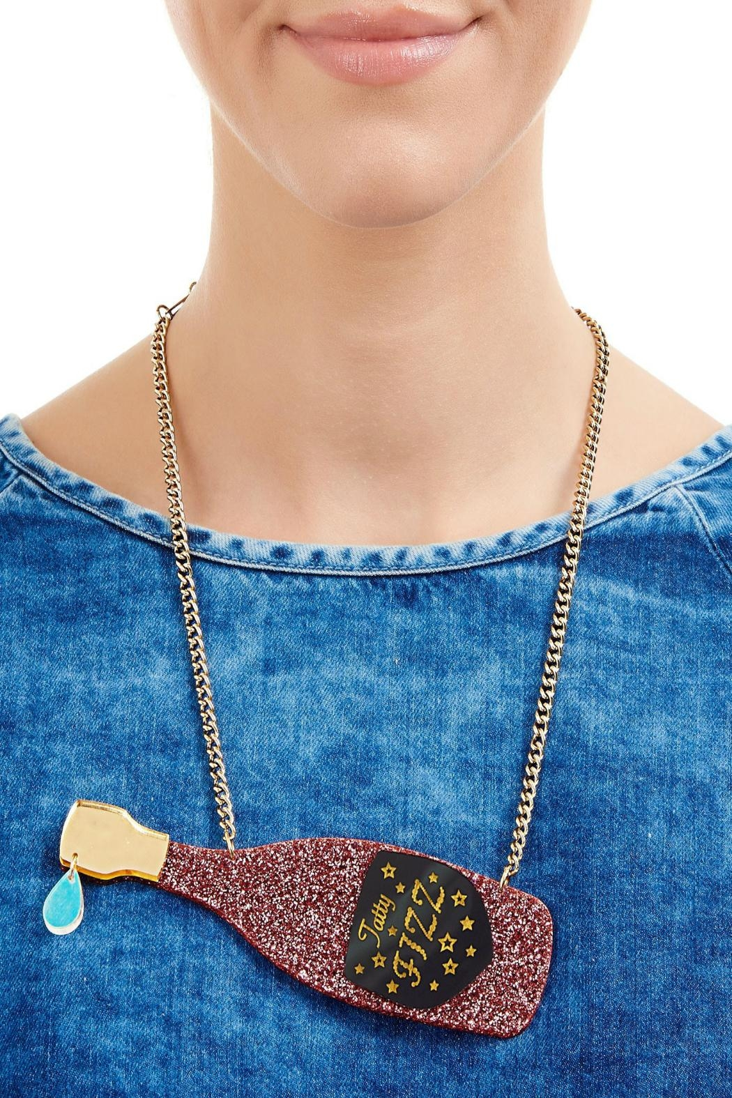 Tatty Devine Pink Champagne Necklace - Front Full Image