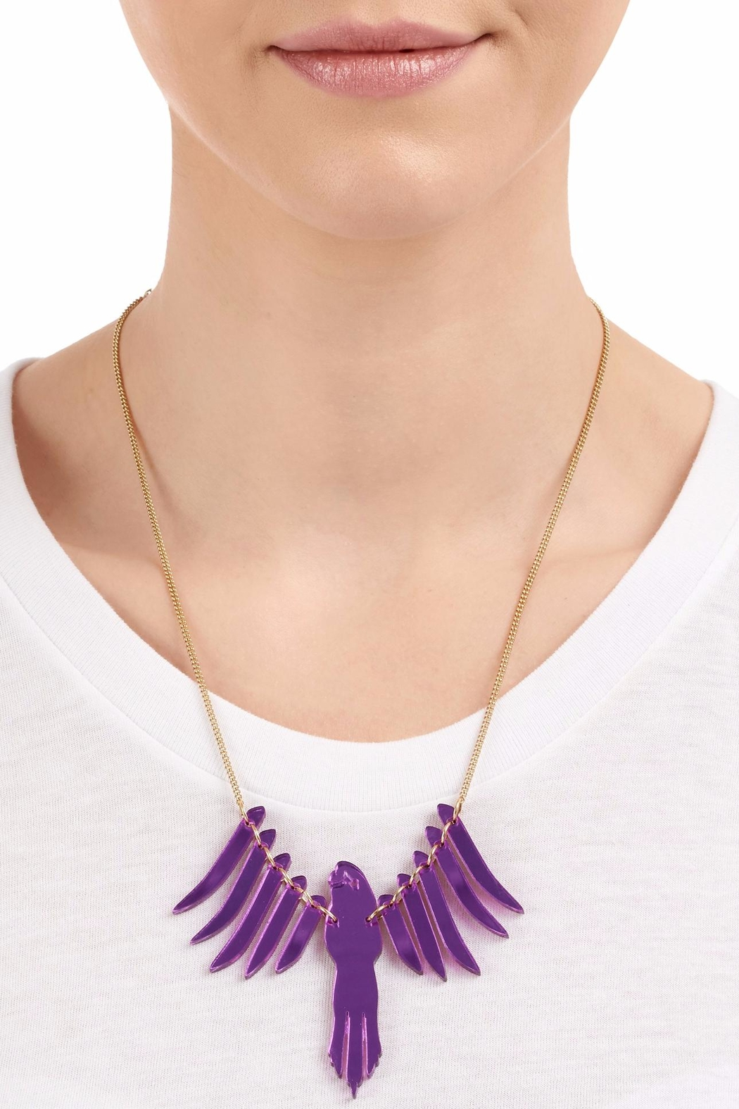 Tatty Devine Purple Parakeet Necklace - Front Cropped Image